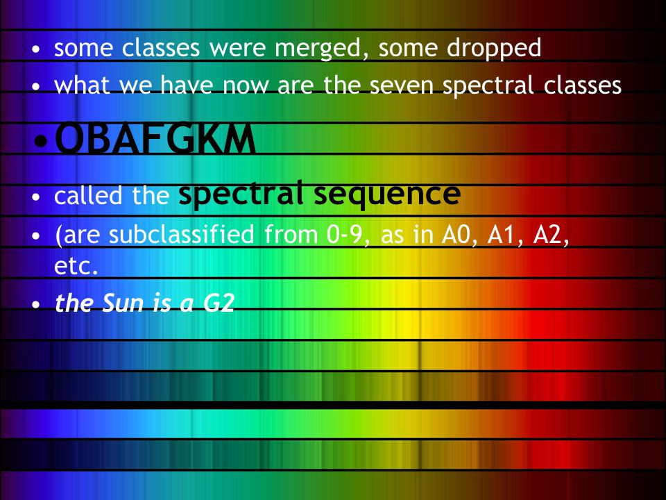 some classes were merged, some dropped what we have now are the seven spectral classes OBAFGKM called the spectral sequence (are subclassified from 0-9, as in A0, A1, A2, etc.