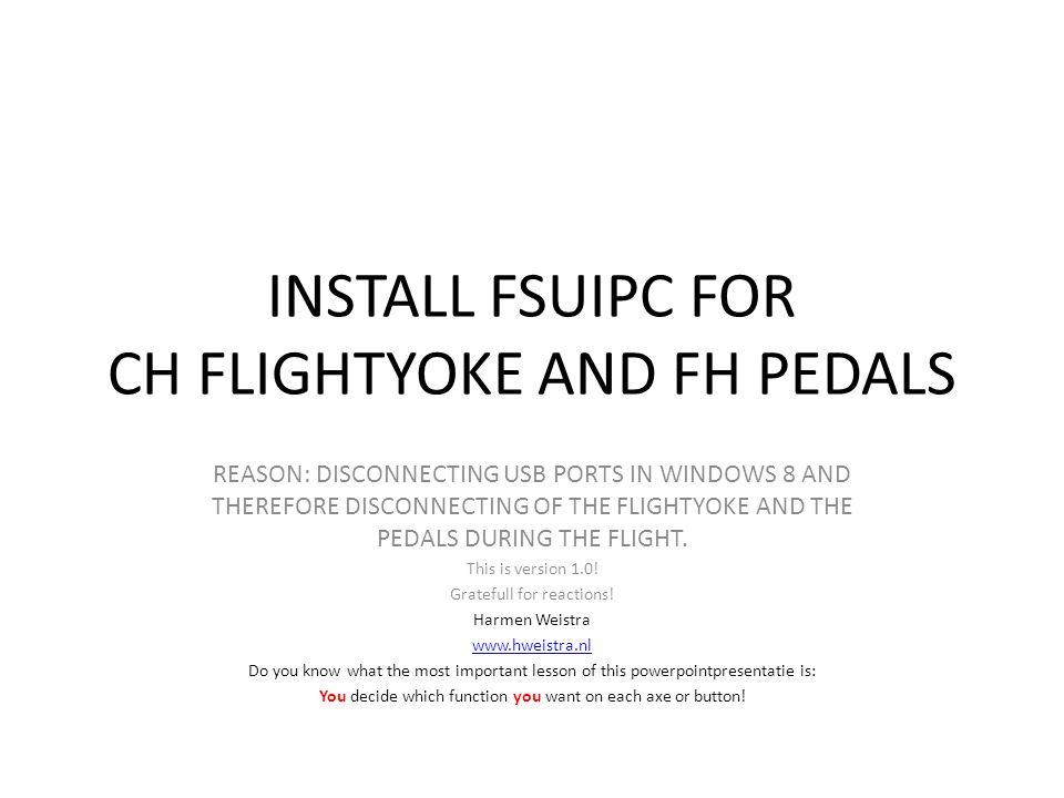 Also activate Send direct to FSUIPC Calibration.