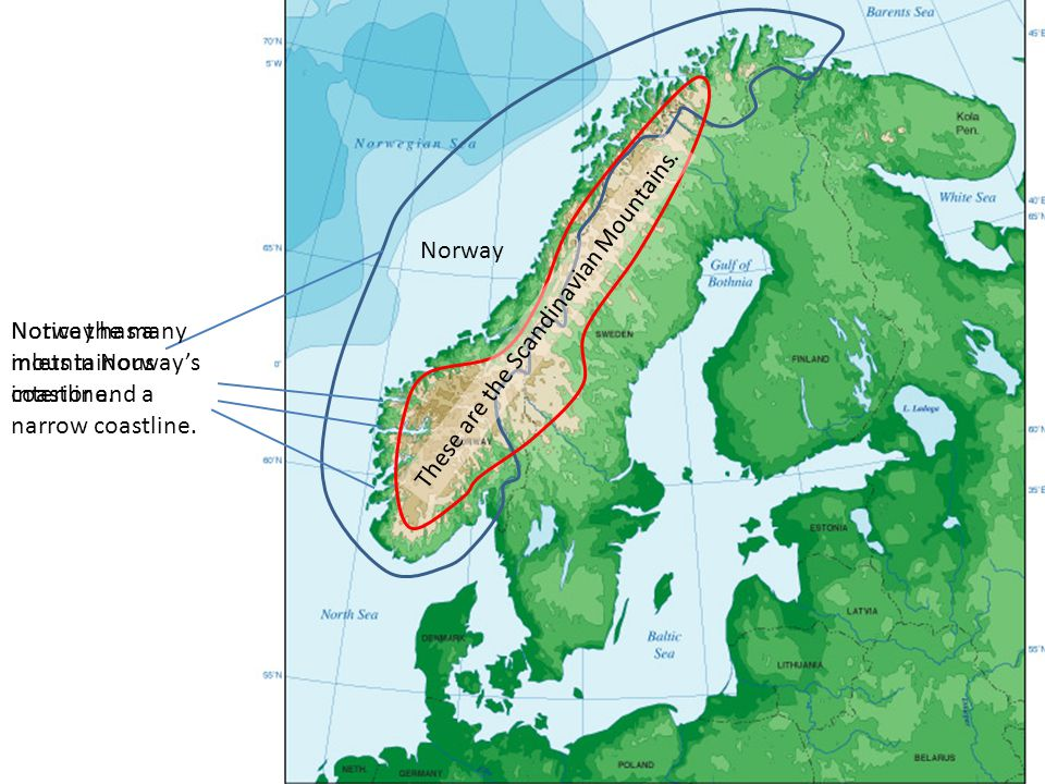 Norway has a mountainous interior and a narrow coastline.