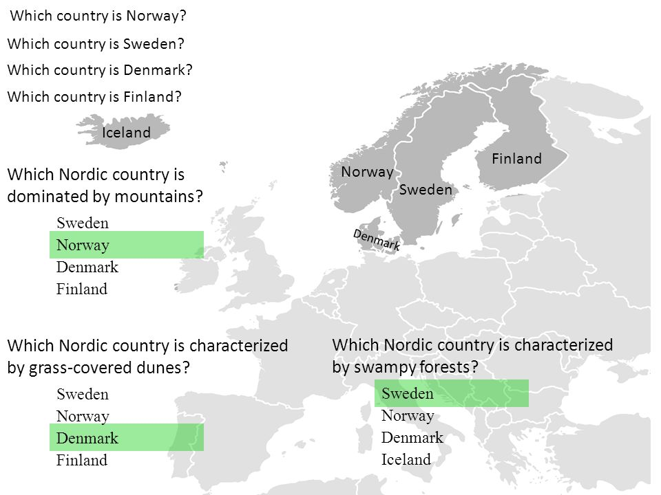 Which country is Norway? Which country is Sweden? Norway Sweden Which country is Denmark? Denmark Which country is Finland? Finland Which Nordic count