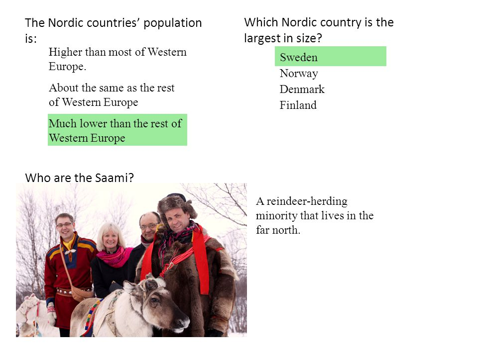 The Nordic countries' population is: Higher than most of Western Europe. About the same as the rest of Western Europe Much lower than the rest of West