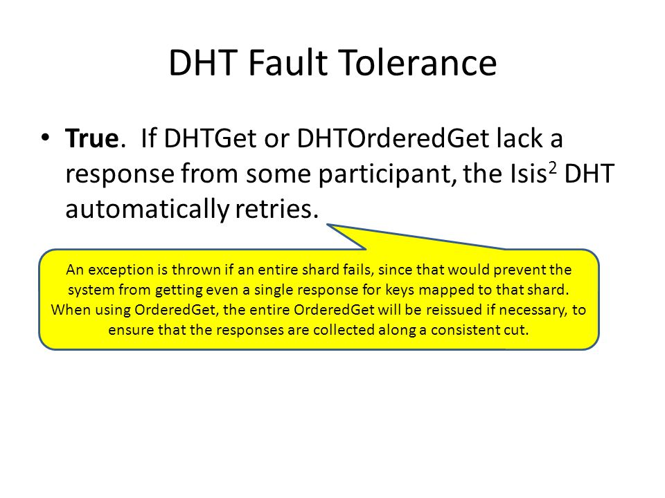 DHT Fault Tolerance True.