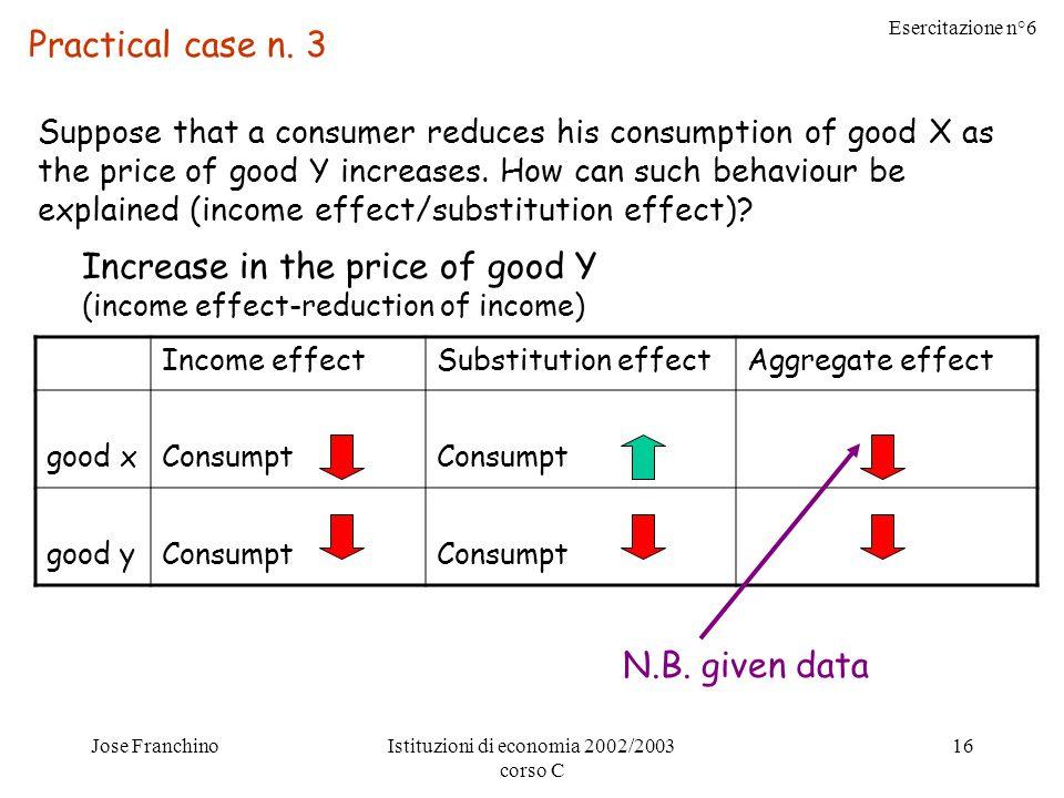 Esercitazione n°6 Jose FranchinoIstituzioni di economia 2002/2003 corso C 16 Practical case n.