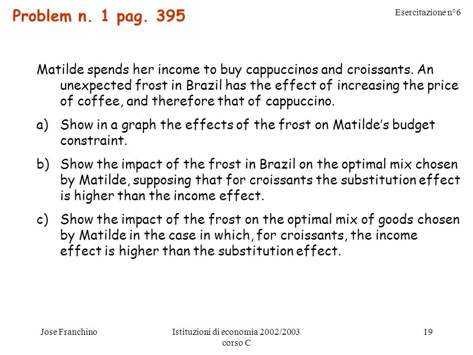 Esercitazione n°6 Jose FranchinoIstituzioni di economia 2002/2003 corso C 19 Problem n. 1 pag. 395 Matilde spends her income to buy cappuccinos and cr