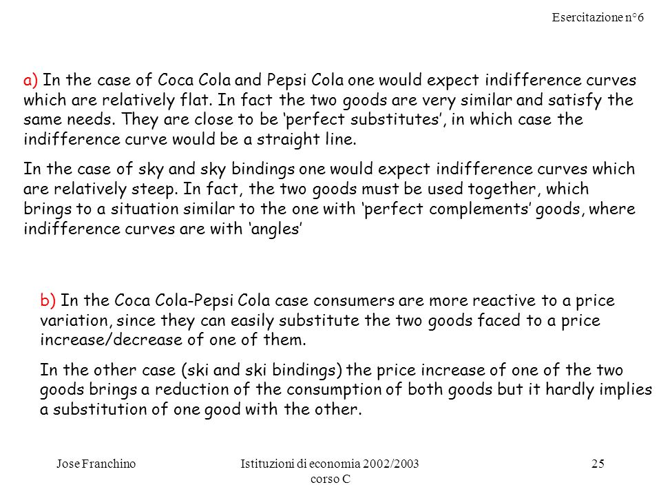 Esercitazione n°6 Jose FranchinoIstituzioni di economia 2002/2003 corso C 25 a) In the case of Coca Cola and Pepsi Cola one would expect indifference curves which are relatively flat.