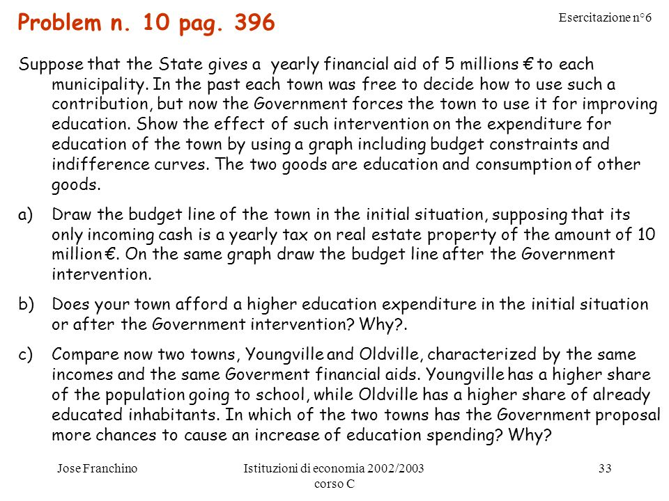 Esercitazione n°6 Jose FranchinoIstituzioni di economia 2002/2003 corso C 33 Problem n.