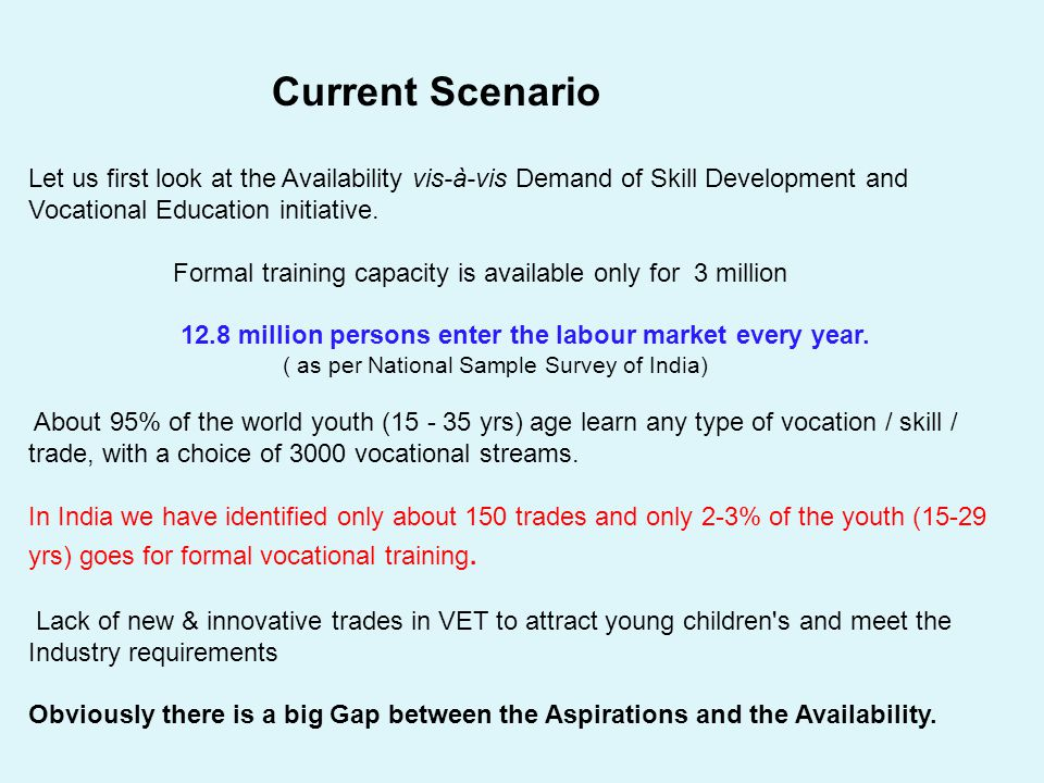Current Scenario Let us first look at the Availability vis-à-vis Demand of Skill Development and Vocational Education initiative. Formal training capa