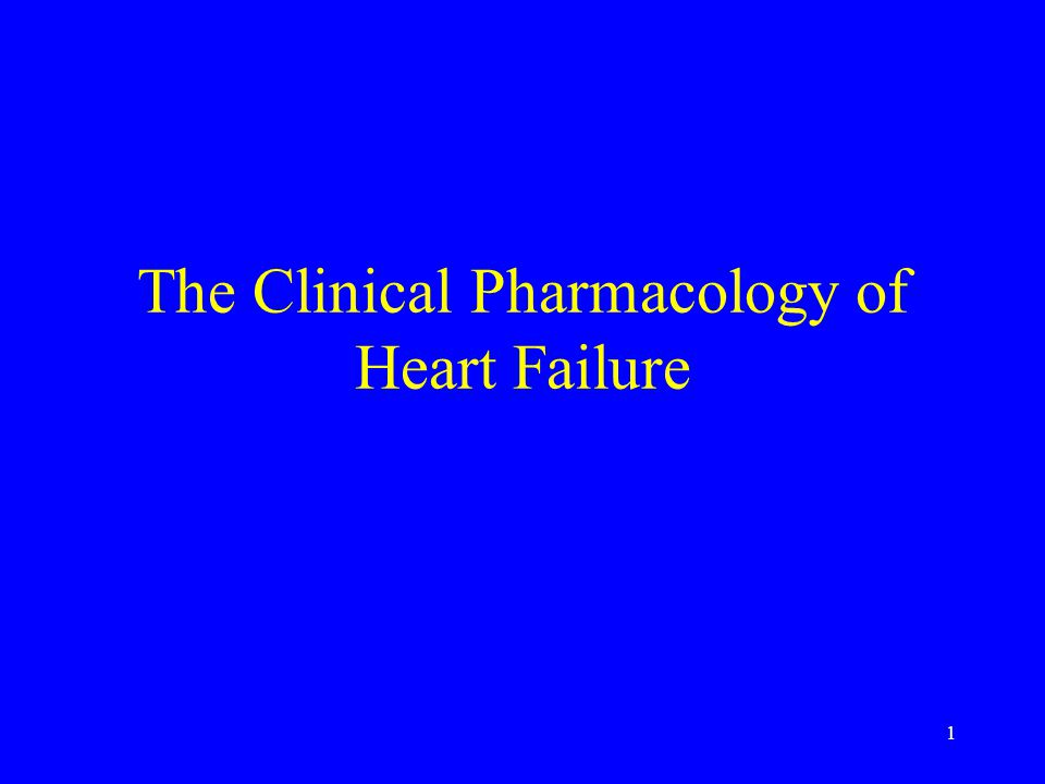 1 The Clinical Pharmacology of Heart Failure