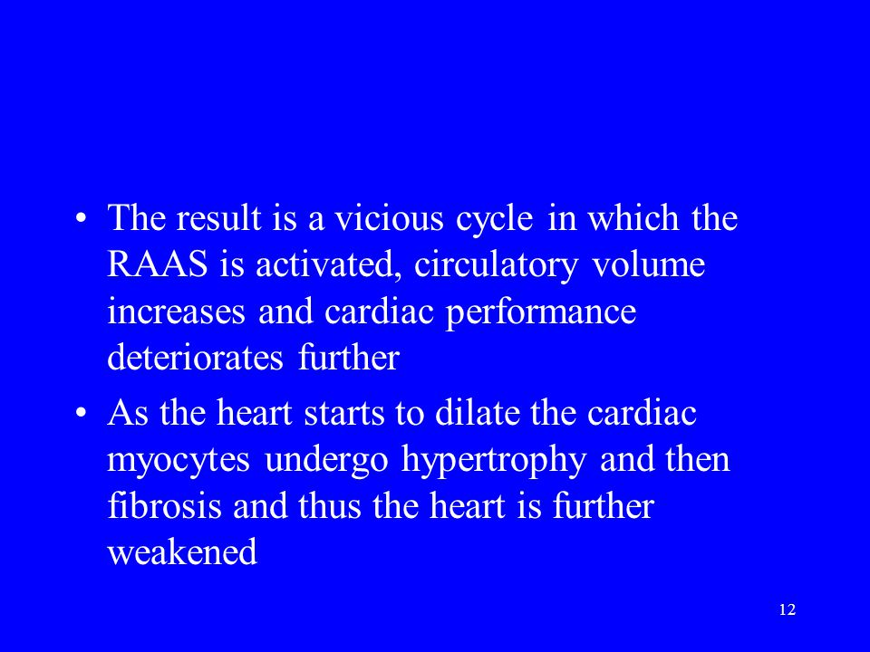 12 The result is a vicious cycle in which the RAAS is activated, circulatory volume increases and cardiac performance deteriorates further As the hear