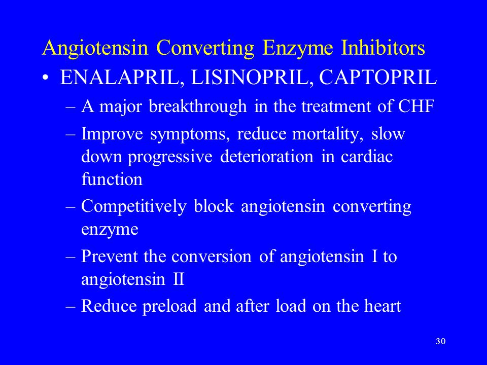 30 Angiotensin Converting Enzyme Inhibitors ENALAPRIL, LISINOPRIL, CAPTOPRIL –A major breakthrough in the treatment of CHF –Improve symptoms, reduce m
