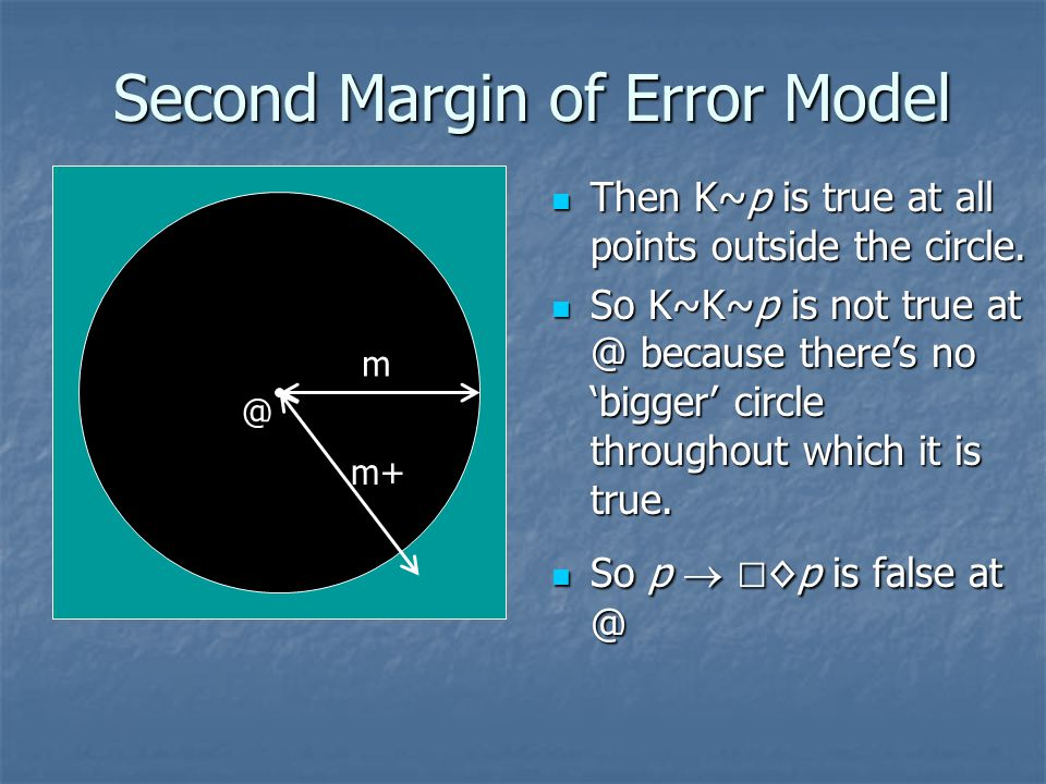 Second Margin of Error Model m @ m+ Then K~p is true at all points outside the circle.