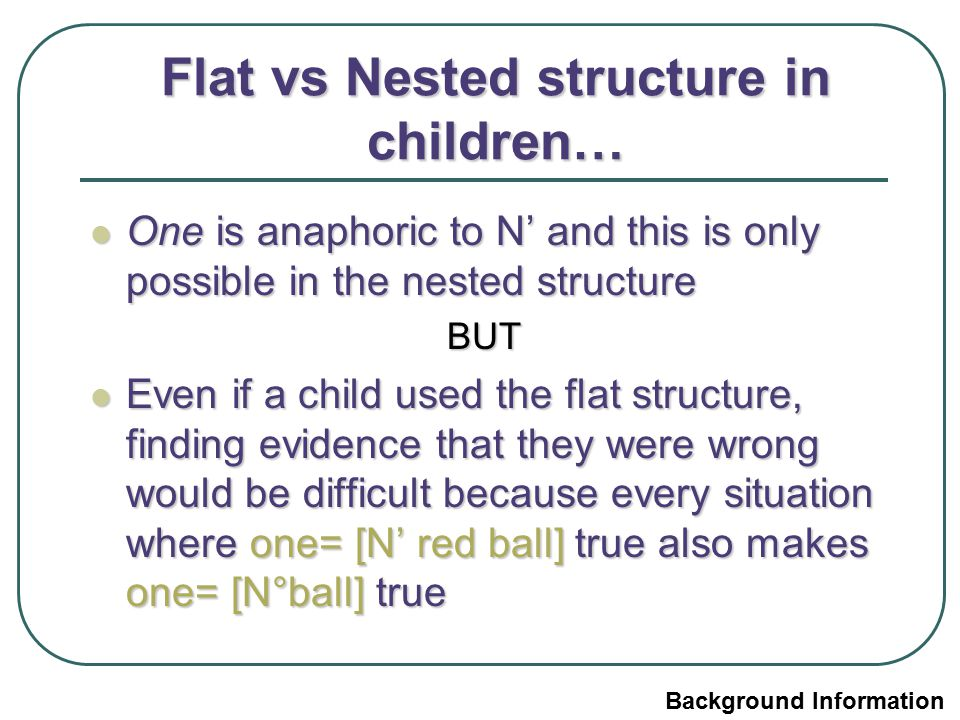 Flat vs Nested structure in children… One is anaphoric to N' and this is only possible in the nested structure One is anaphoric to N' and this is only