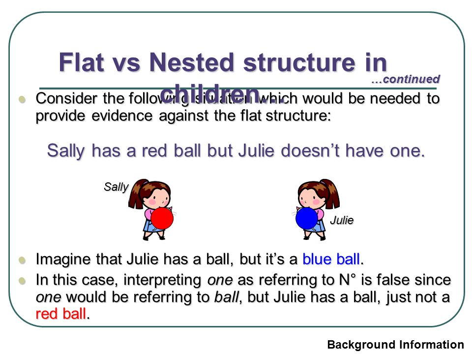 Consider the following situation which would be needed to provide evidence against the flat structure: Consider the following situation which would be needed to provide evidence against the flat structure: Sally has a red ball but Julie doesn't have one.