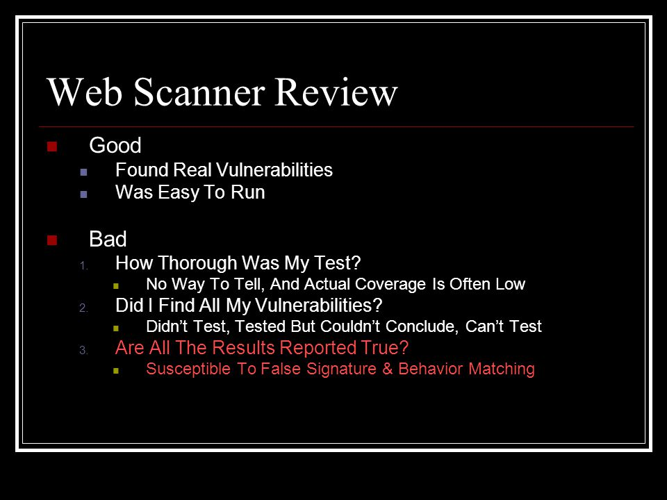 Web Scanner Review Good Found Real Vulnerabilities Was Easy To Run Bad 1.