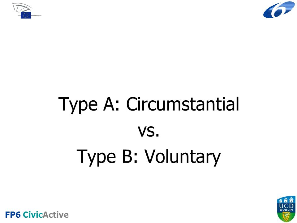 FP6 CivicActive Type A: Circumstantial vs. Type B: Voluntary