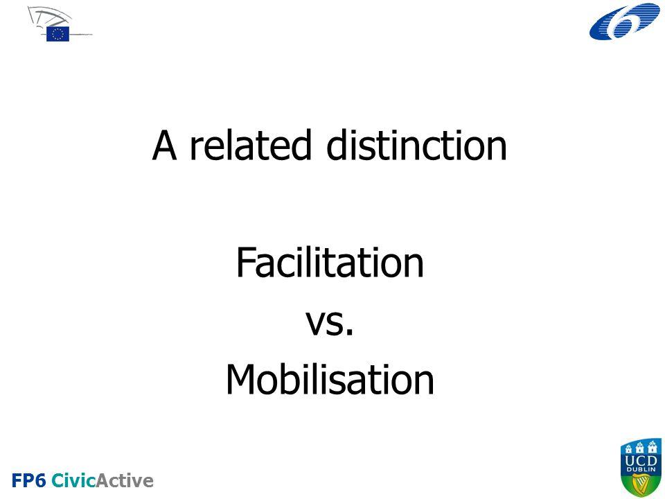 FP6 CivicActive A related distinction Facilitation vs. Mobilisation
