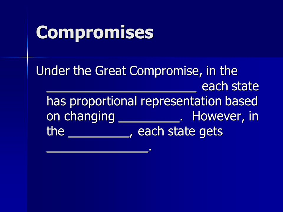 Compromises Under the Great Compromise, in the ______________________ each state has proportional representation based on changing _________. However,