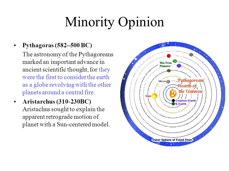 Minority Opinion Pythagoras (582–500 BC) The astronomy of the Pythagoreans marked an important advance in ancient scientific thought, for they were th