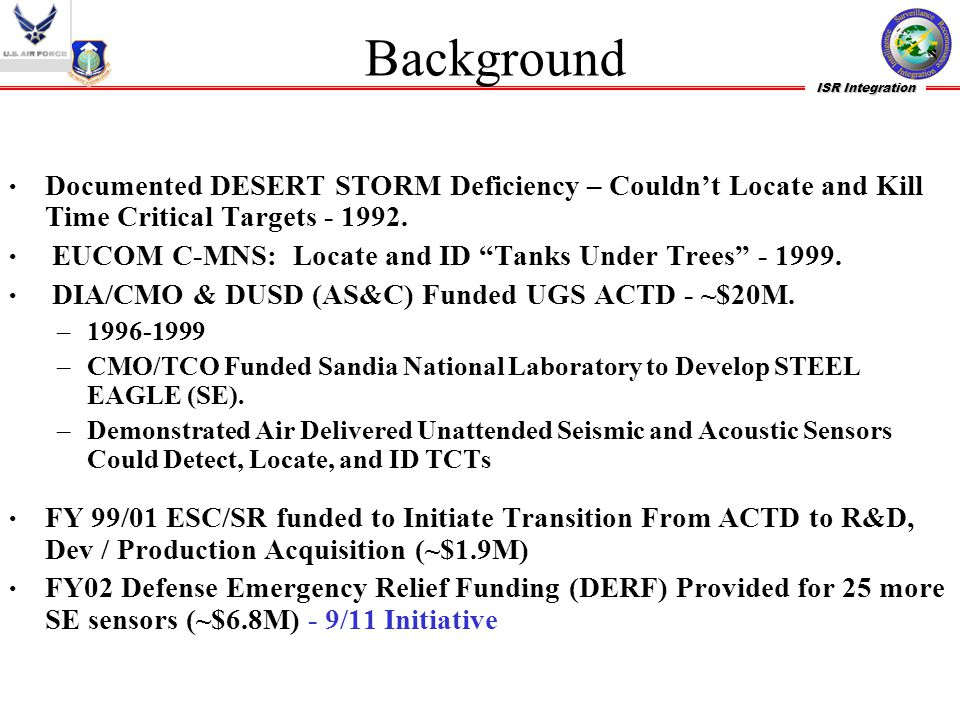 "ISR Integration Background Documented DESERT STORM Deficiency – Couldn't Locate and Kill Time Critical Targets - 1992. EUCOM C-MNS: Locate and ID ""Tan"