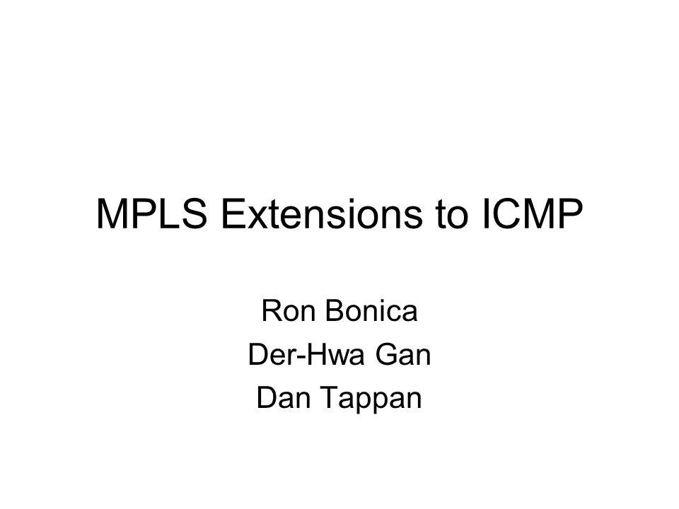 MPLS Extensions to ICMP Ron Bonica Der-Hwa Gan Dan Tappan