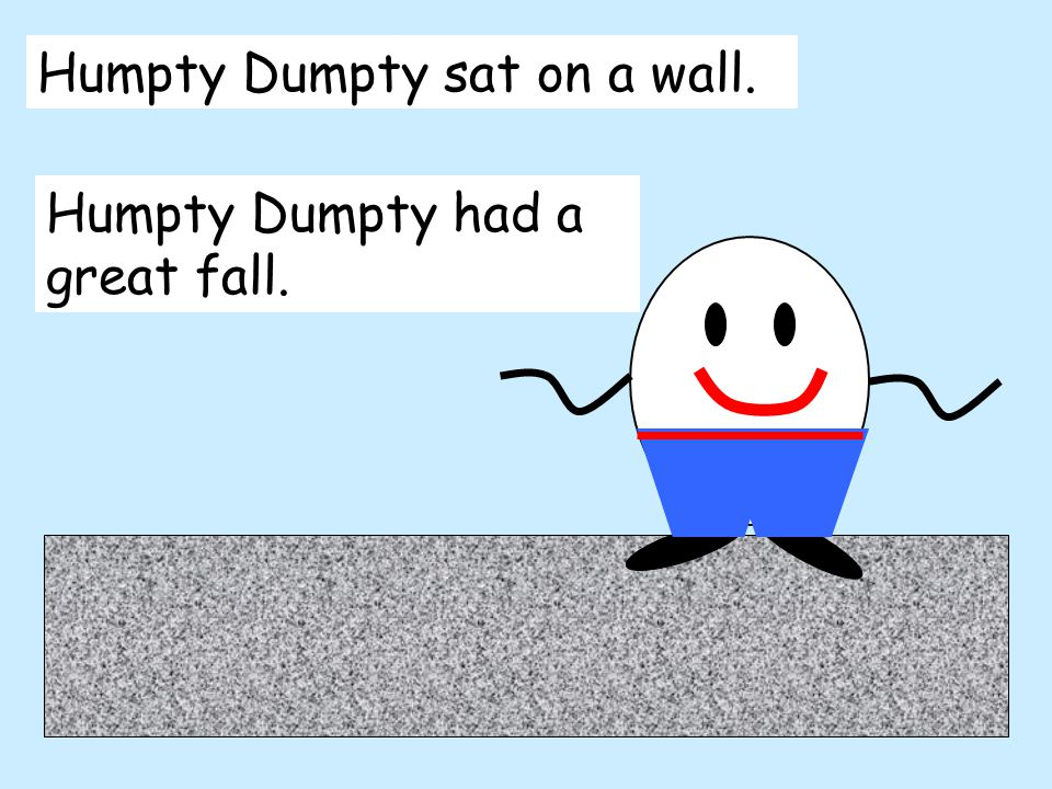 Humpty Dumpty sat on a wall. Humpty Dumpty had a great fall.