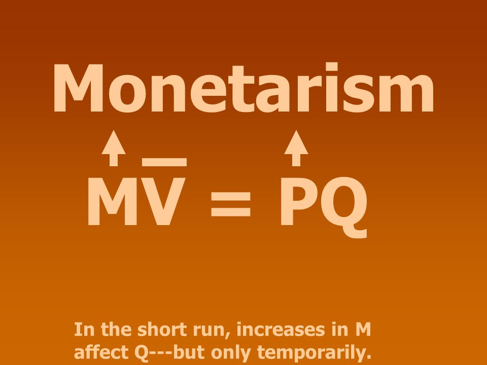 Monetarism MV = PQ In the short run, increases in M affect Q---but only temporarily.