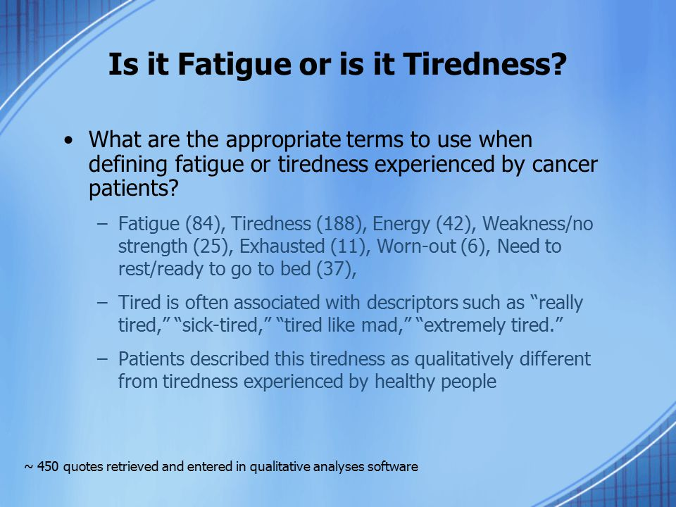 Is it Fatigue or is it Tiredness? What are the appropriate terms to use when defining fatigue or tiredness experienced by cancer patients? –Fatigue (8