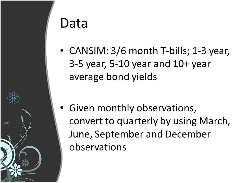 Data CANSIM: 3/6 month T-bills; 1-3 year, 3-5 year, 5-10 year and 10+ year average bond yields Given monthly observations, convert to quarterly by using March, June, September and December observations