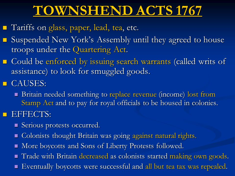 TOWNSHEND ACTS 1767 Tariffs on glass, paper, lead, tea, etc.