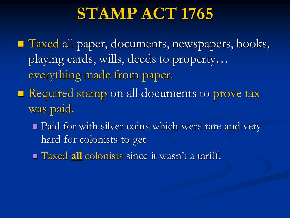 Stamp Act and Sugar Act Analogy Write an analogy that compares the stamp act to the sugar act