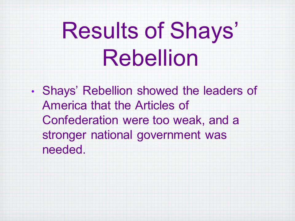 Shays' Rebellion showed the leaders of America that the Articles of Confederation were too weak, and a stronger national government was needed. Result