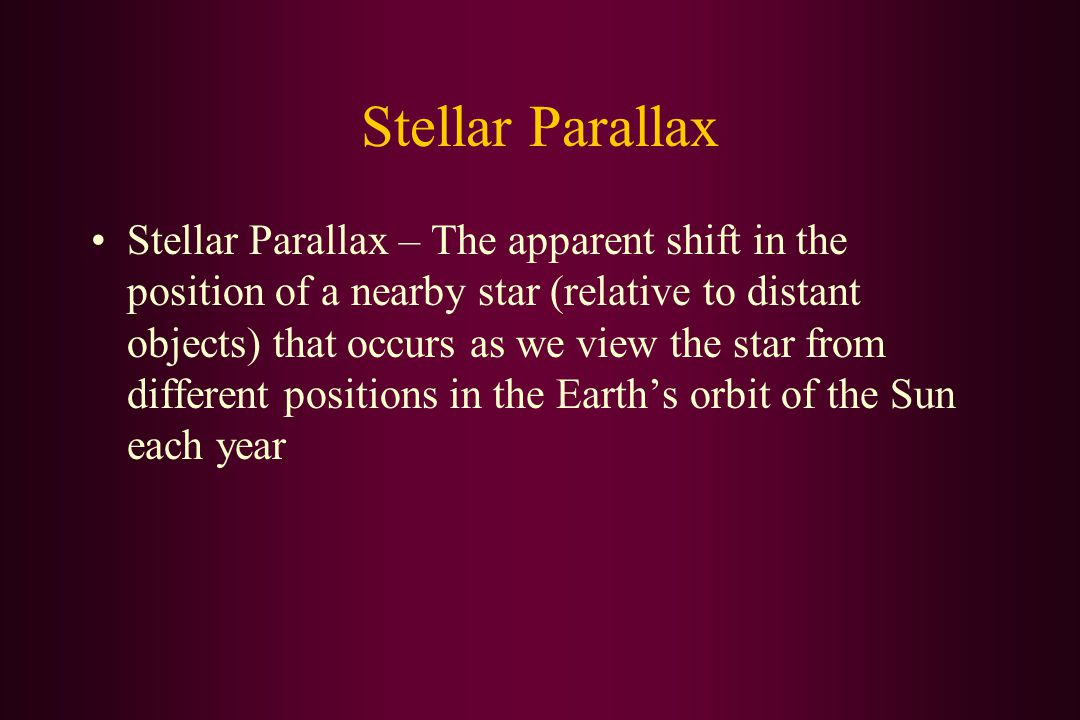 Stellar Parallax Stellar Parallax – The apparent shift in the position of a nearby star (relative to distant objects) that occurs as we view the star from different positions in the Earth's orbit of the Sun each year