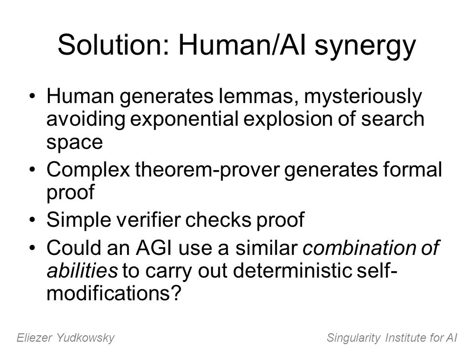 Solution: Human/AI synergy Human generates lemmas, mysteriously avoiding exponential explosion of search space Complex theorem-prover generates formal
