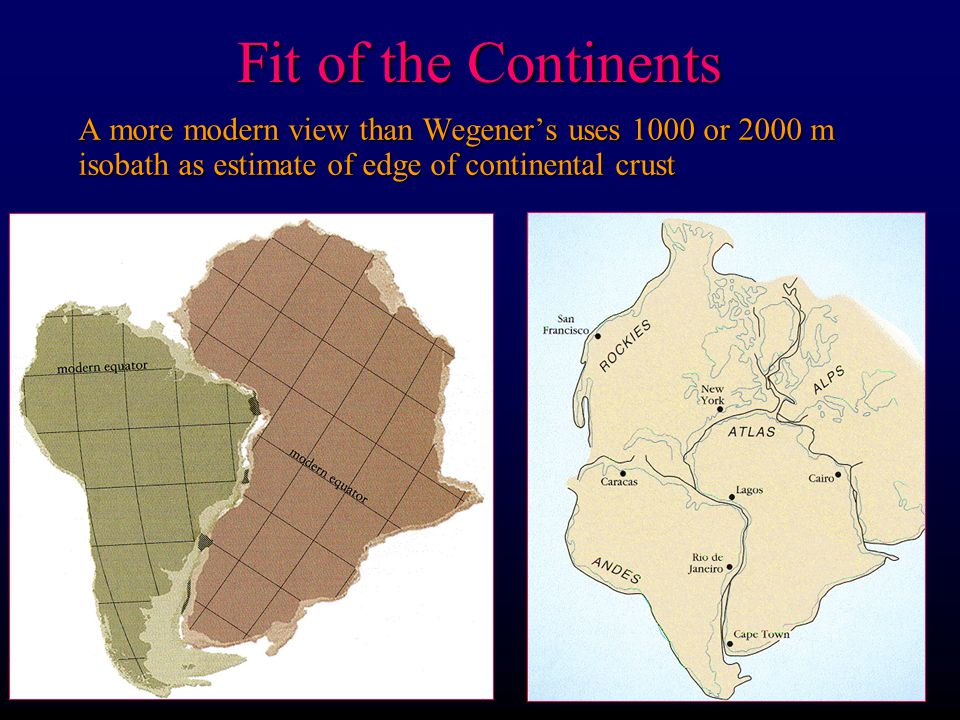 Fit of the Continents A more modern view than Wegener's uses 1000 or 2000 m isobath as estimate of edge of continental crust