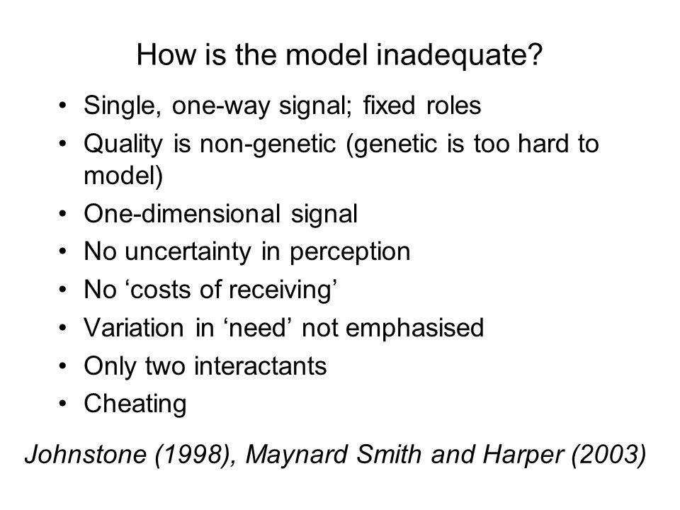 How is the model inadequate.