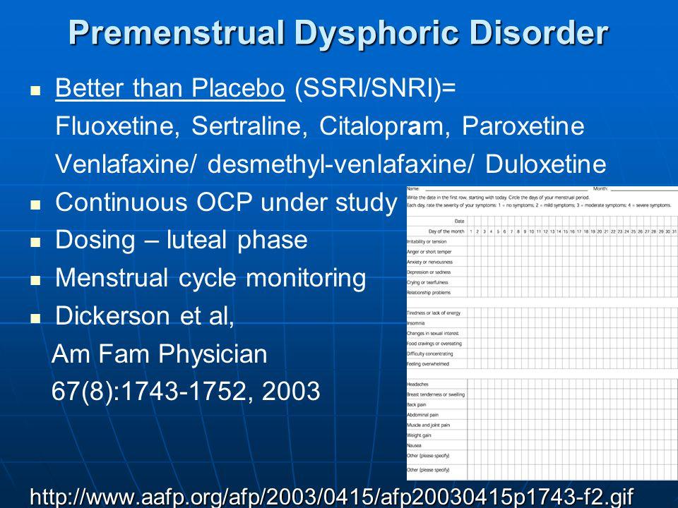19 Premenstrual Dysphoric Disorder Better than Placebo (SSRI/SNRI)= Fluoxetine, Sertraline, Citalopram, Paroxetine Venlafaxine/ desmethyl-venlafaxine/