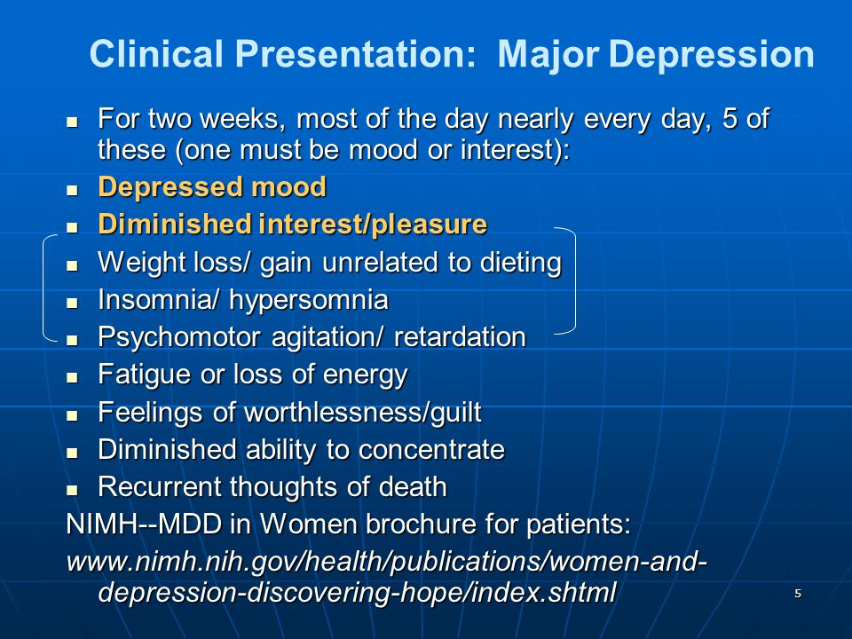 6 Biological Differences Pathophysiology Biological Differences Major Depression and Mood Disorders are brain disorders Major Depression and Mood Disorders are brain disorders Dysregulated neural circuits for control of mood, thought, sleep, appetite, and behavior.