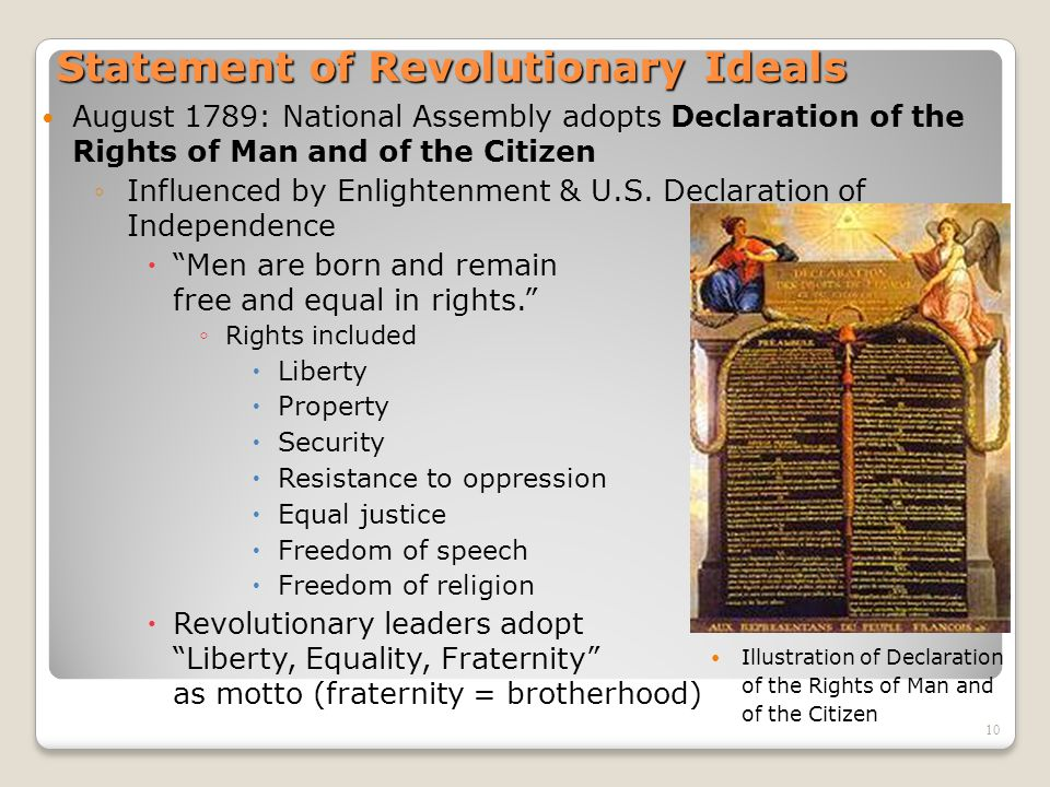 10 Statement of Revolutionary Ideals August 1789: National Assembly adopts Declaration of the Rights of Man and of the Citizen ◦Influenced by Enlighte