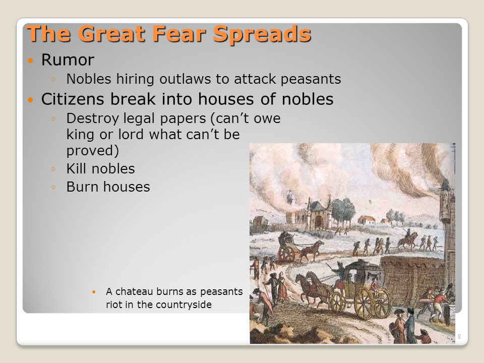 9 The Great Fear Spreads… October 1789: Women riot at Versailles over cost of bread ◦Demands:  National Assembly provide bread  King and queen return to Paris August 1789: Great Fear spreads to clergy and nobles, more of whom now (out of fear) support National Assembly ◦National Assembly ends Estate system ◦Commoners/peasants now equal to clergy and nobles