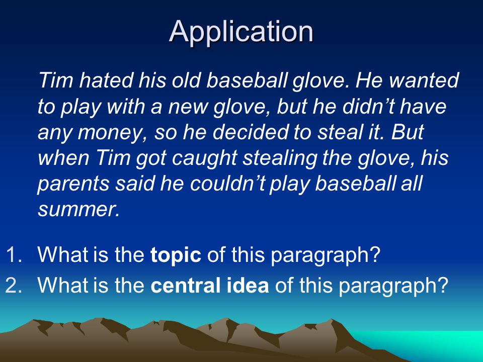 Application Tim hated his old baseball glove.