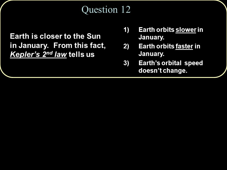 Question 12 Earth is closer to the Sun in January.