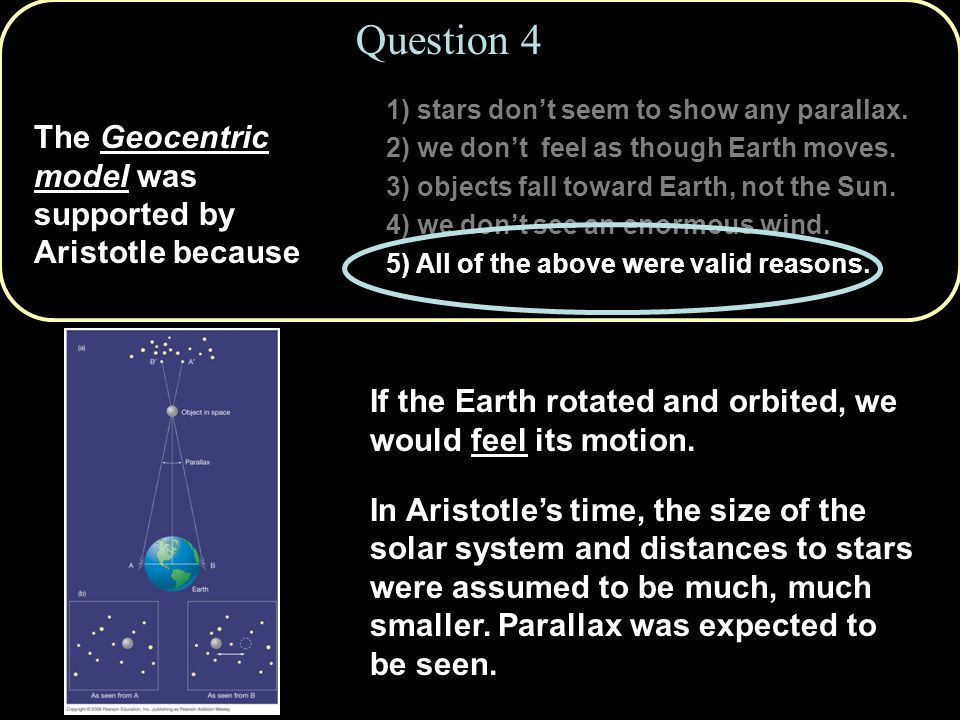 1) stars don't seem to show any parallax.2) we don't feel as though Earth moves.