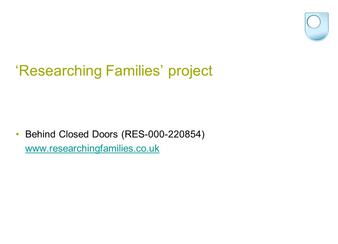 Aims of paper Introduce the different qualitative methods used in the Behind Closed Doors project Demonstrate how mixing methods can produce a dynamic portrait of intimate experience Highlight why we should embrace the conceptual and methodological messiness in studies of family lives