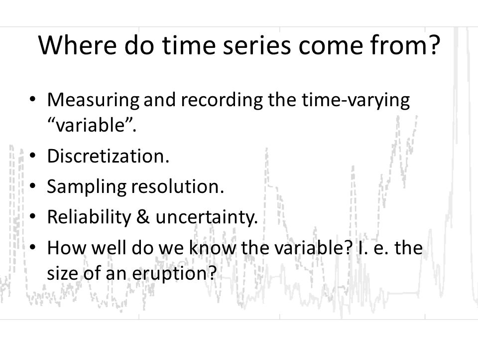 A note on time series and early warning… The ideal model of increasing risk, acceptable risk threshold and warning/response to that threshold.