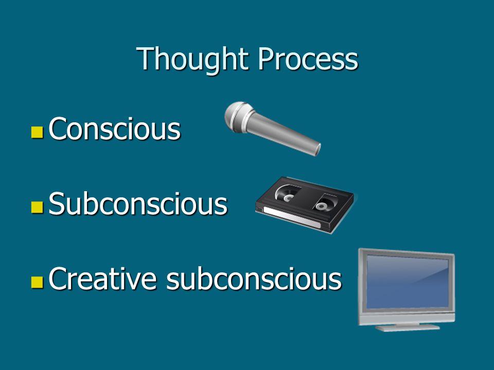Thought Process Conscious Conscious Subconscious Subconscious Creative subconscious Creative subconscious