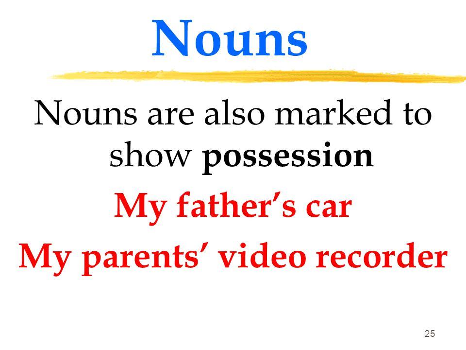 24 Nouns Some foreign borrowed words have retained their original plurals: index – indeces; antenna – antennae; phenomenon – phenomena; datum – data