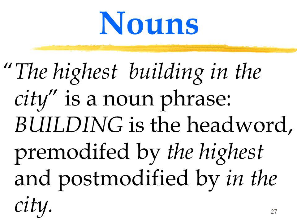 26 Nouns A noun occurs as the headword of a noun phrase ( a phrase where a noun or a pronoun is the most important word)