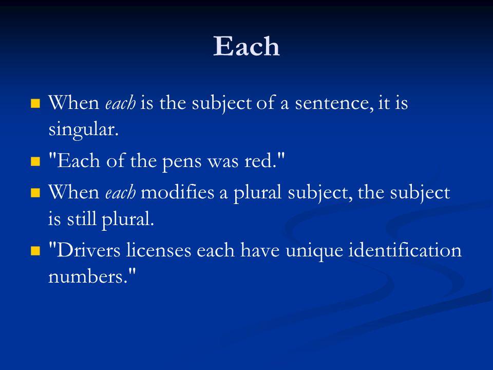 Each When each is the subject of a sentence, it is singular.