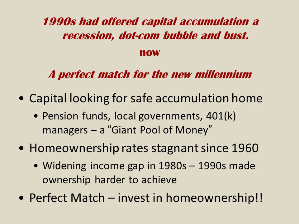 1990s had offered capital accumulation a recession, dot-com bubble and bust.