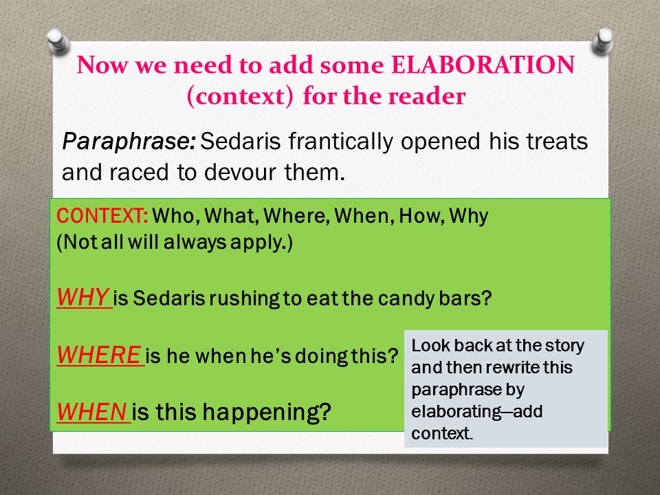 Now we need to add some ELABORATION (context) for the reader Paraphrase: Sedaris frantically opened his treats and raced to devour them. CONTEXT: Who,